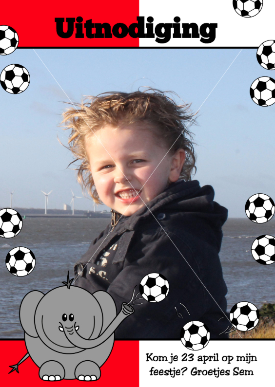 Voetbal rood wit Olifant 1