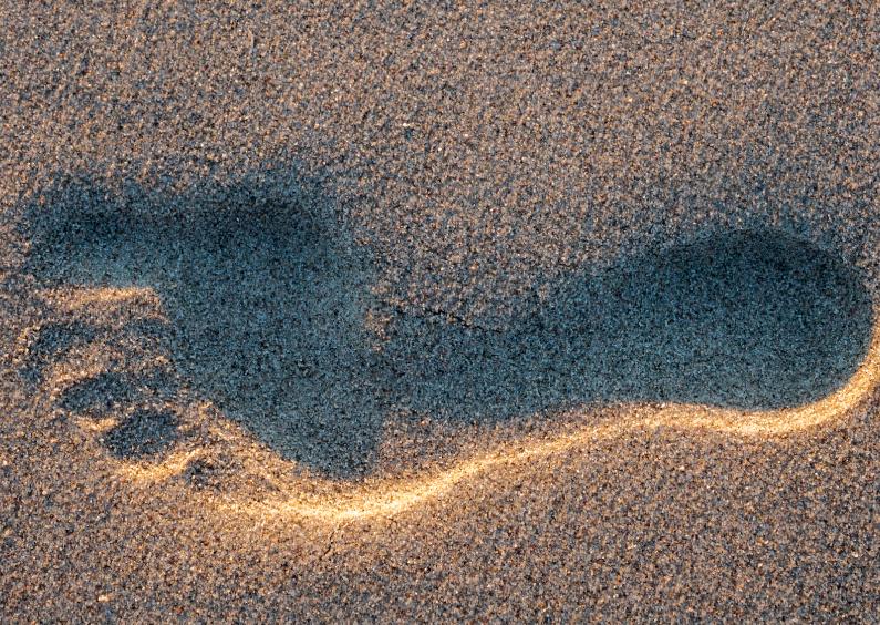 Voetstap in het mulle zand 1