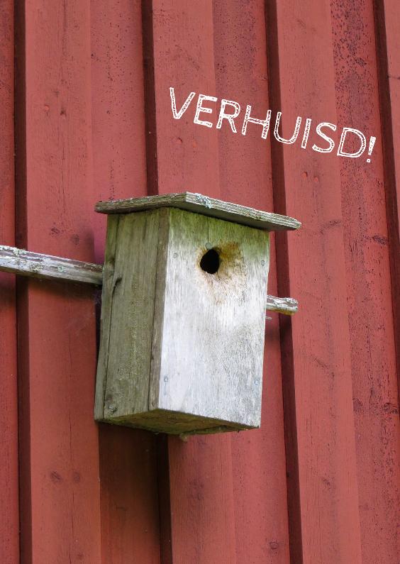 Vogelhuis op rode muur 1