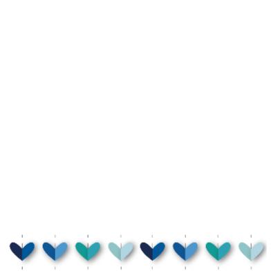 vrolijk geboortekaartje 32 hartjes blauw 2
