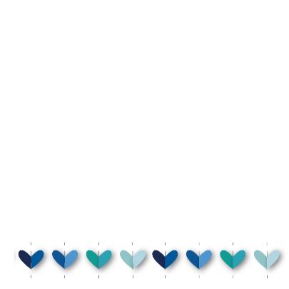 vrolijk geboortekaartje 32 hartjes blauw 3