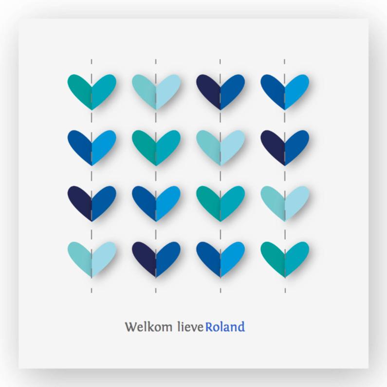 vrolijk geboortekaartje 32 hartjes blauw 1