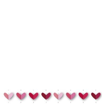 vrolijk geboortekaartje 32 hartjes roze 2