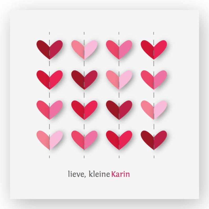 vrolijk geboortekaartje 32 hartjes roze 1