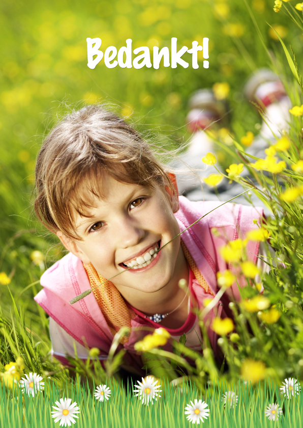 Vrolijke Communnie Bedankkaart Bloemen 1