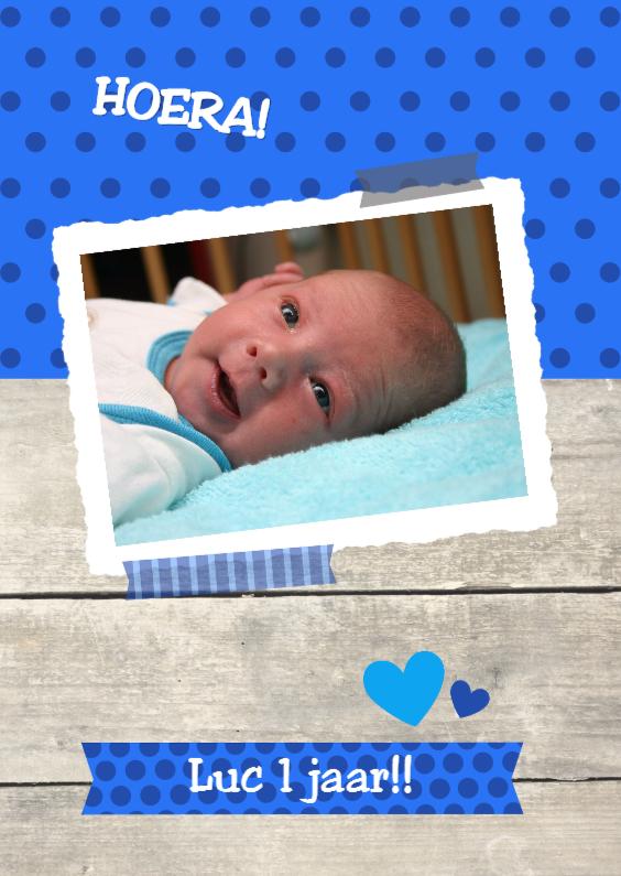 Vrolijke foto uitnodiging blauw 1