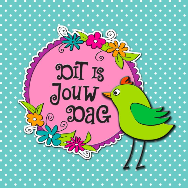 Vrolijke groene vogel 1