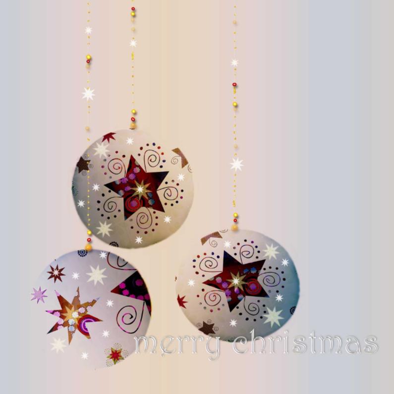 Zachte kerstkaart met 3 kerstballen 1