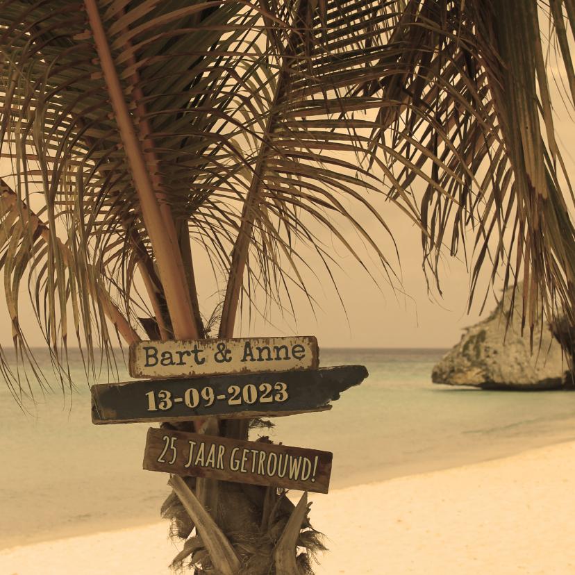 Zomerse jubileum kaart strand uitnodigingen kaartje go