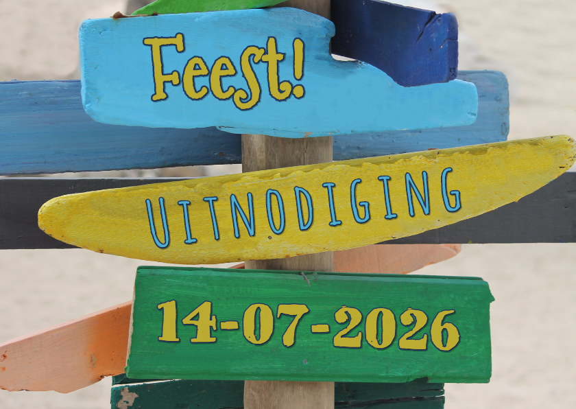 zomerse uitnodiging paal hout 1