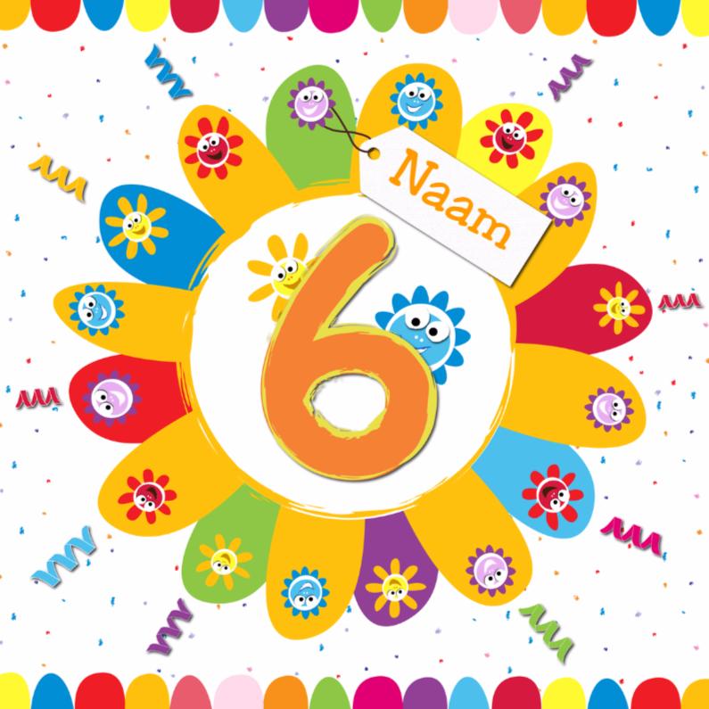 Zonnebloemen 6 jaar met eigen naam verjaardagskaarten for Poppenhuis kind 2 jaar