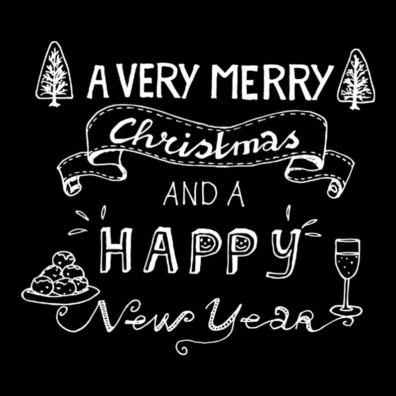 Kerstkaarten - A very merry Christmas zwart