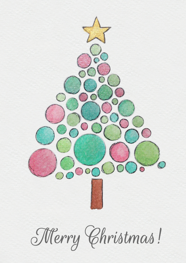 Kerstkaarten - Aquarel kerst kaart