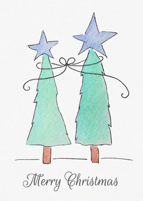 Kerstkaarten - Aquarel kerstbomen
