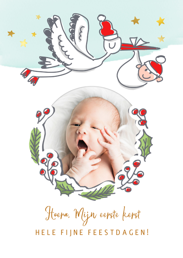 Kerstkaarten - Baby's eerste kerstkaart met ooievaar en foto