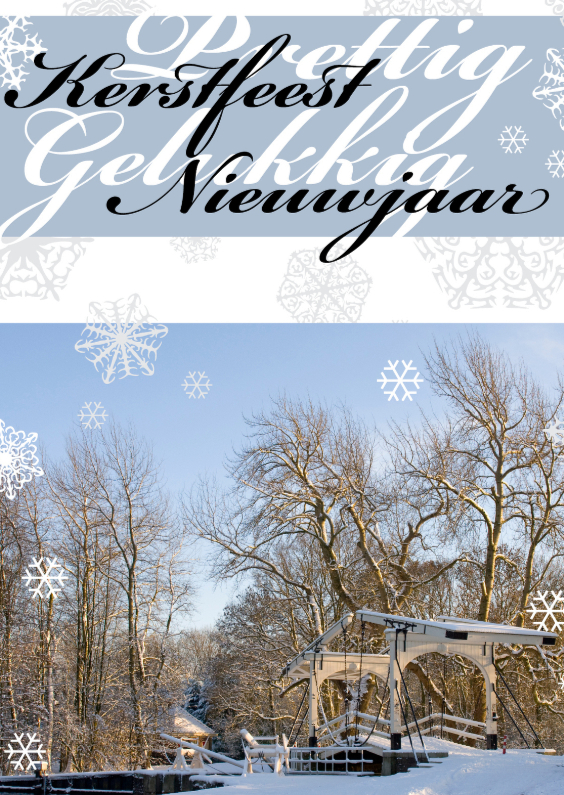 Kerstkaarten - Blauw lucht sneeuw en brug