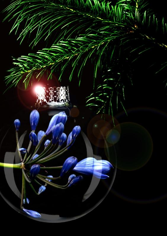 Kerstkaarten - blauwe bloem in kerstbal
