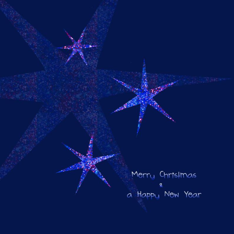 Kerstkaarten - Blauwe kerststerren