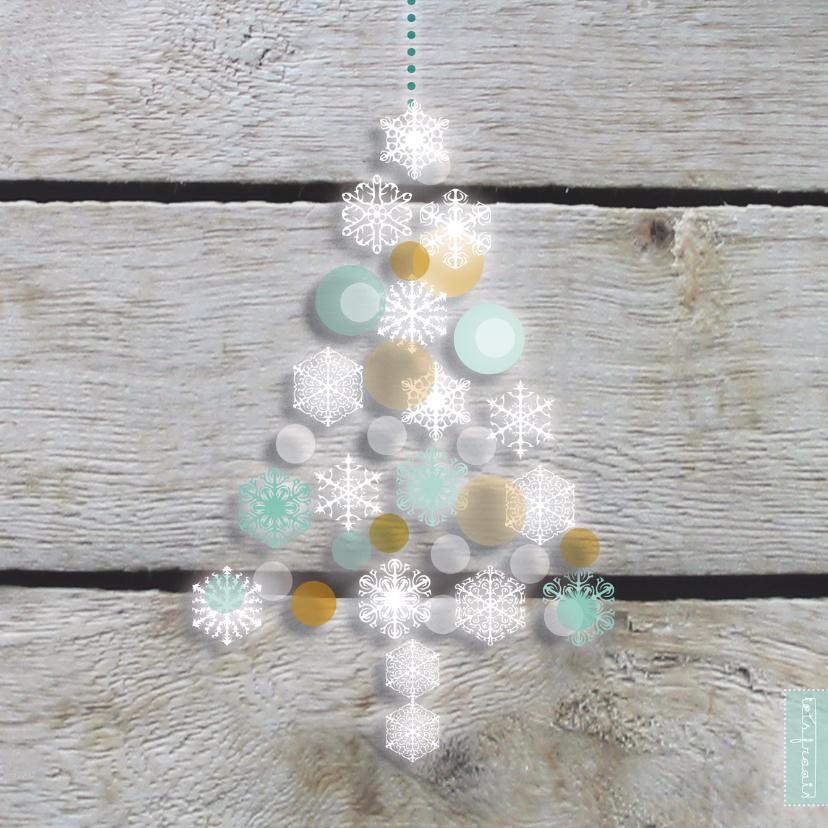 Kerstkaarten - Blinkende kerstboom hout print