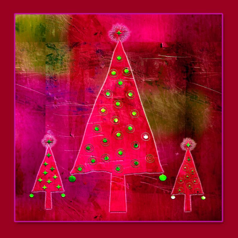 Kerstkaarten - Boompjes rood