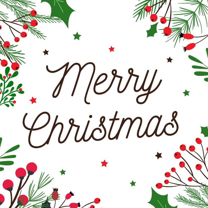 Kerstkaarten - Botanische kerstkaart merry christmas