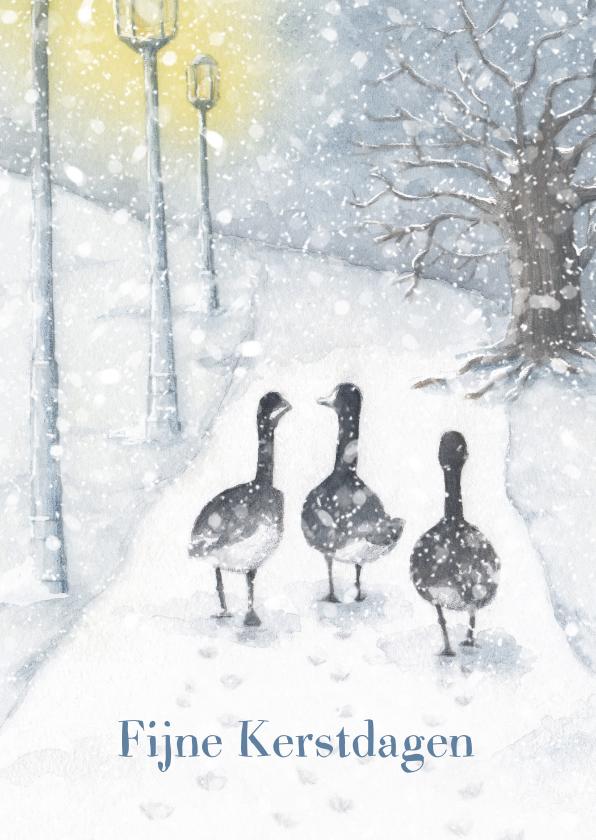 Kerstkaarten - Canadese ganzen in de sneeuw