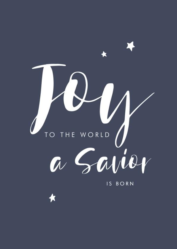 Kerstkaarten - Christelijke kerstkaart handlettering joy tot the world