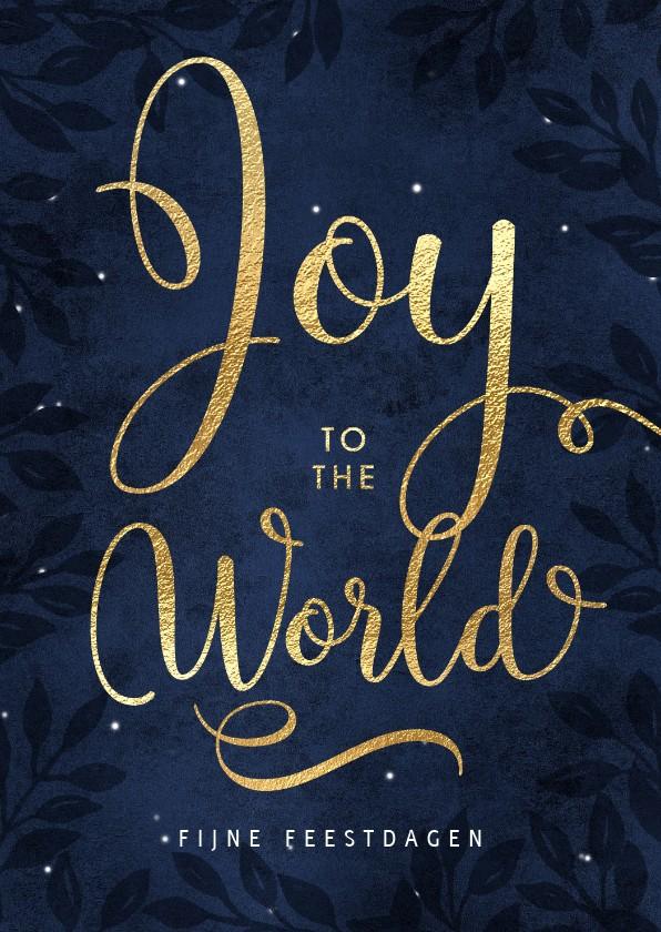 Kerstkaarten - Christelijke kerstkaart Joy to the world goud donker blauw