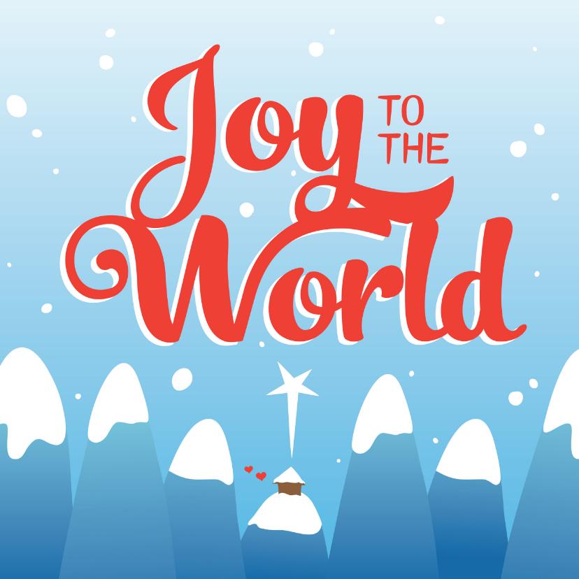 Kerstkaarten - Christelijke kerstkaart Joy to the world stal