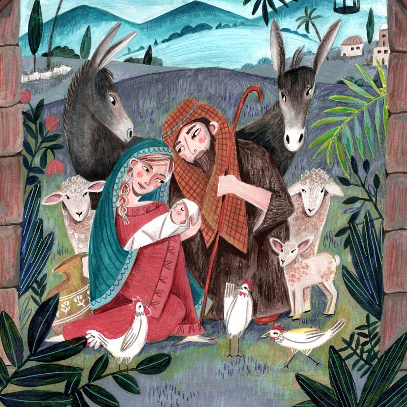 Kerstkaarten - Christelijke kerstkaart Maria en Jozef
