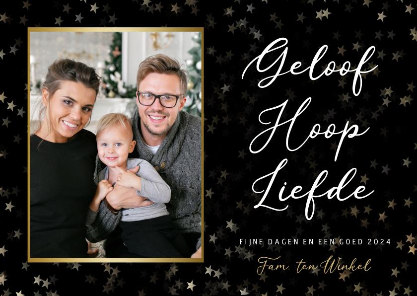 Kerstkaarten - Christelijke kerstkaart met foto - Geloof hoop en liefde