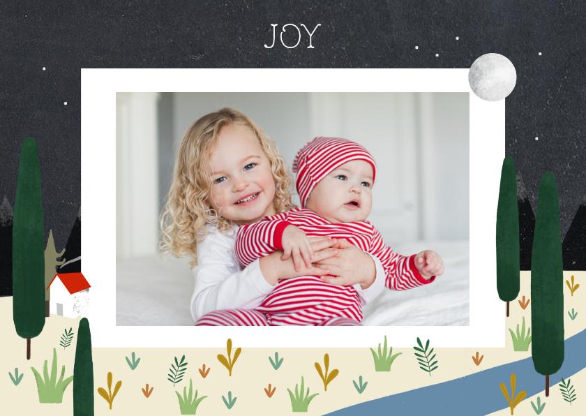 Kerstkaarten - Christelijke kerstkaart met illustratie en foto