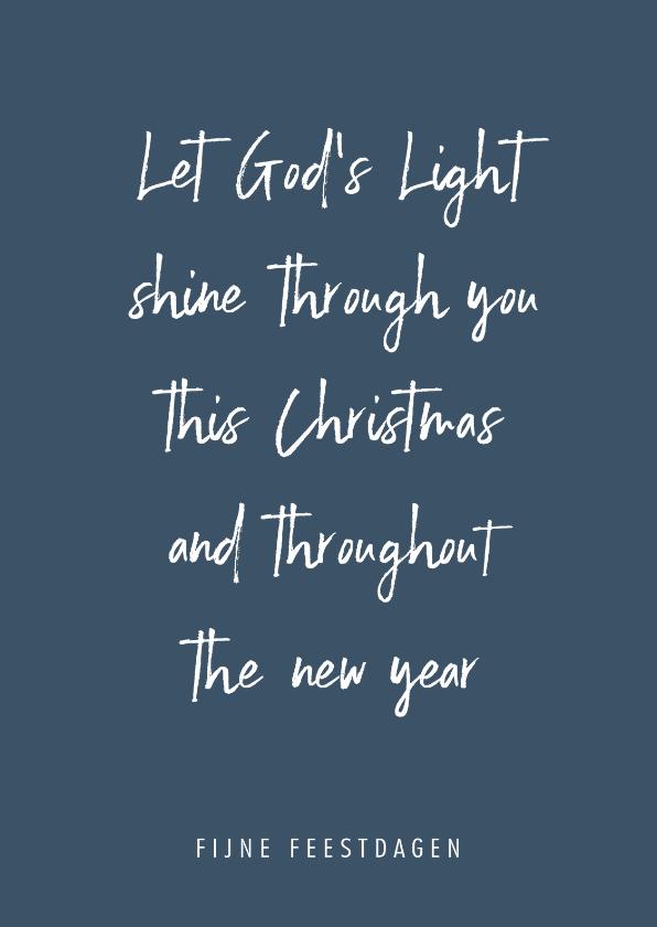 Kerstkaarten - Christelijke quote kerstkaart met blauwe achtergrond