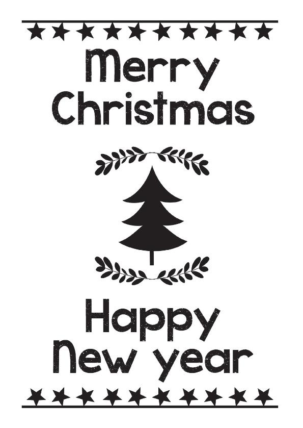 Kerstkaarten - Christmas black white tree-ByF
