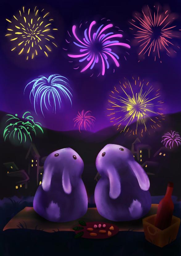 Kerstkaarten - Chubby bunnies met vuurwerk