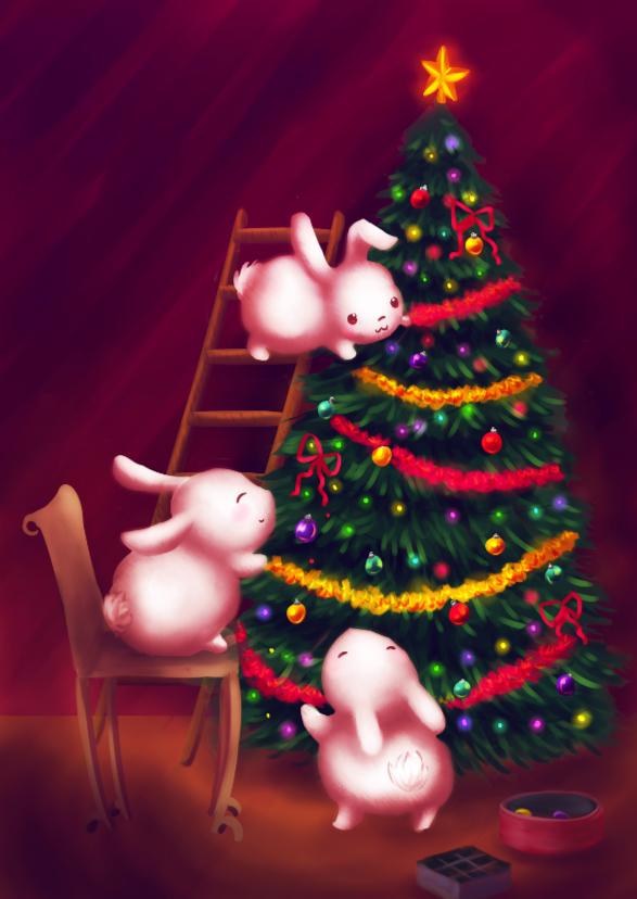 Kerstkaarten - Chubby bunnies versieren de boom