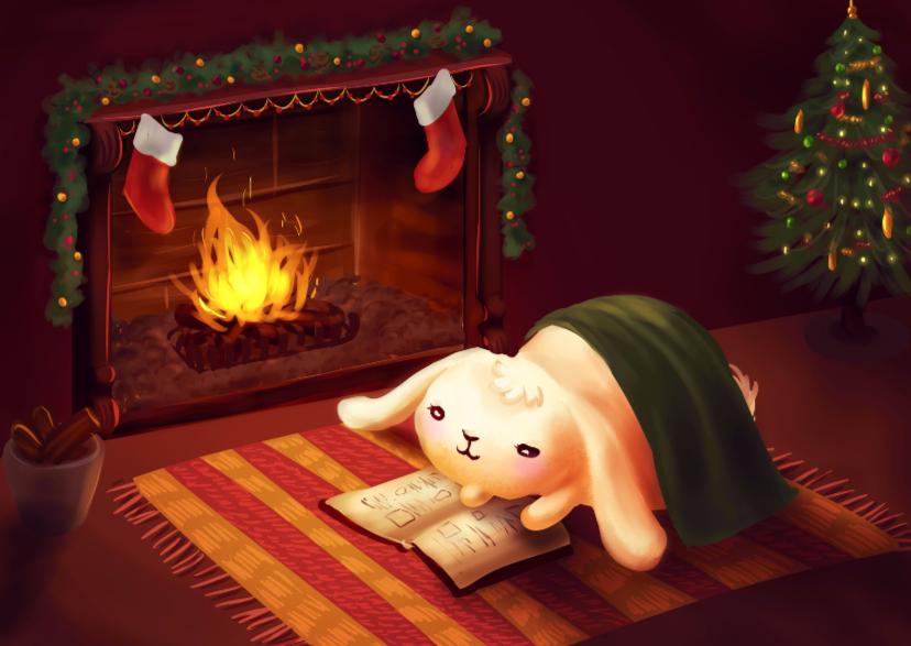 Kerstkaarten - Chubby bunny bij open haard