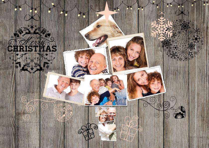 Kerstkaarten - Collage hout kerst 7 foto's