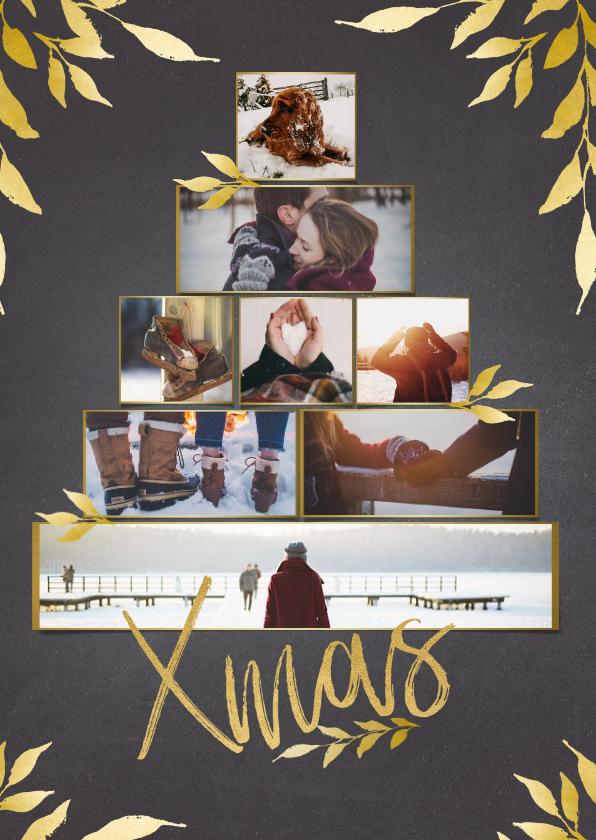Kerstkaarten - Collage kerstboom krijtbord rechthoekig voor 8 foto's
