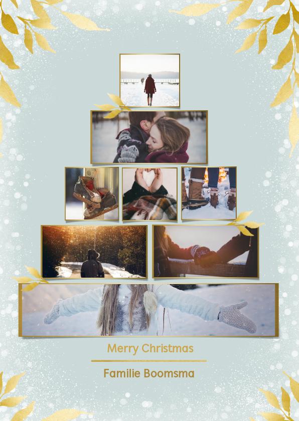 Kerstkaarten - Collage kerstkaart kerstboom rechthoekig voor 8 foto's