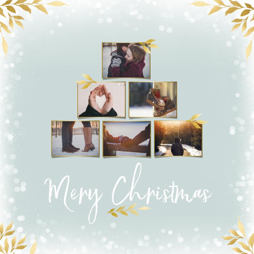 Kerstkaarten - Collage kerstkaart vierkant voor 6 foto's