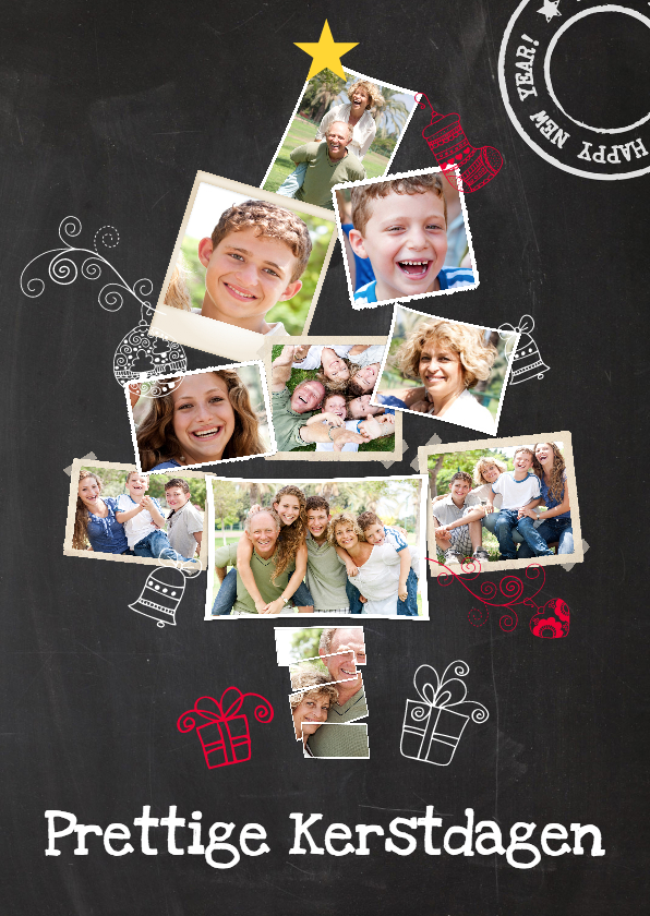 Kerstkaarten - Collage krijtbord 10 foto's