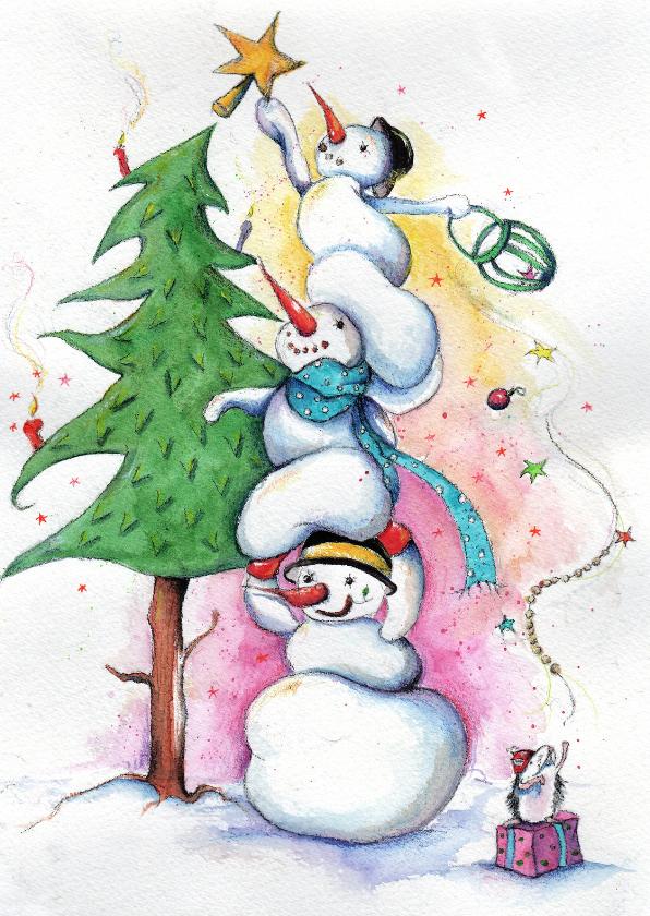 Kerstkaarten - De kerstboom versieren