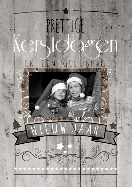 Kerstkaarten - Decoratief Hout 1 Foto - BK