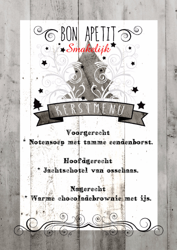 Kerstkaarten - Decoratief Hout Kerstdiner - BK