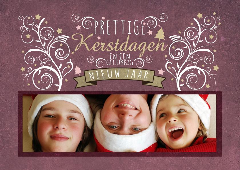 Kerstkaarten - Decoratief Roze 1 Foto L - BK