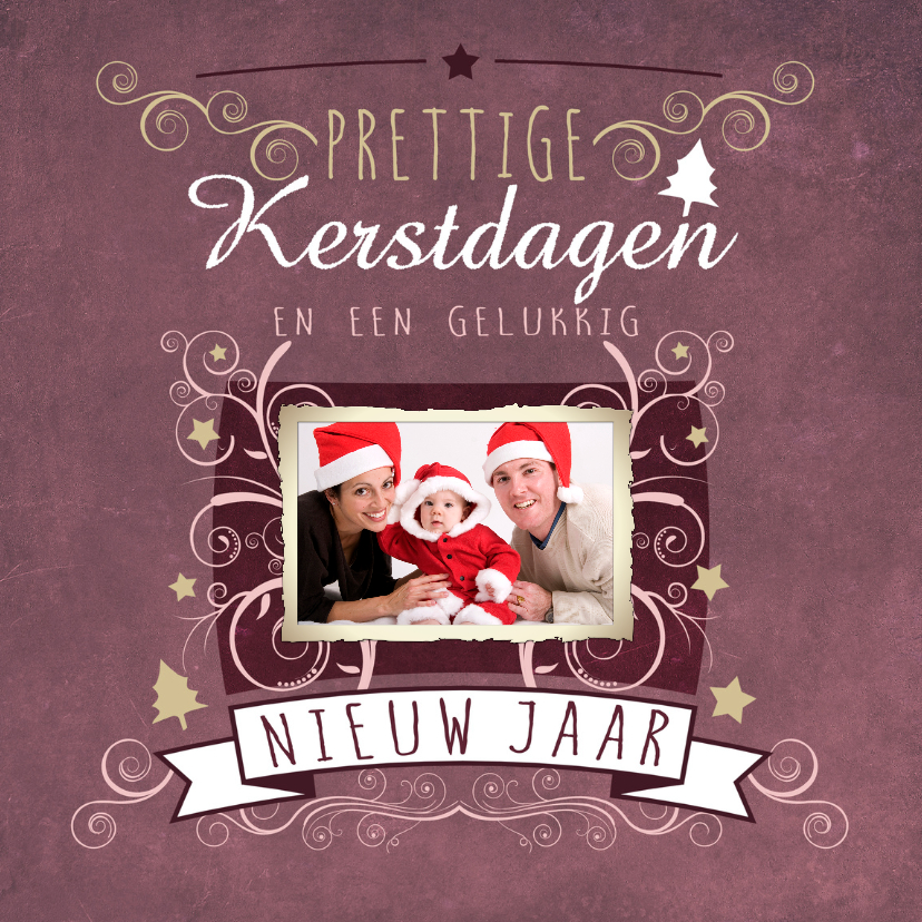 Kerstkaarten -  Decoratief Roze 1 Foto V1 - BK