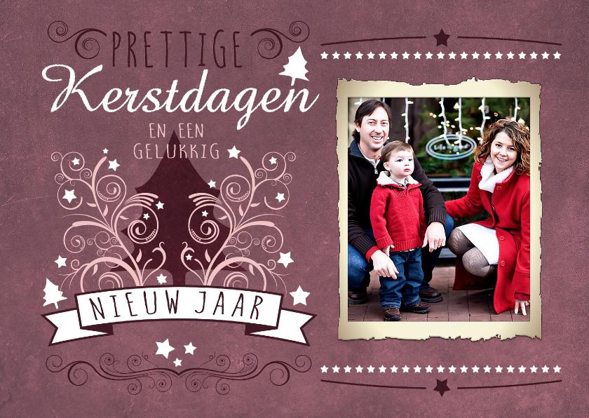 Kerstkaarten - Decoratief Roze Foto Groot - BK