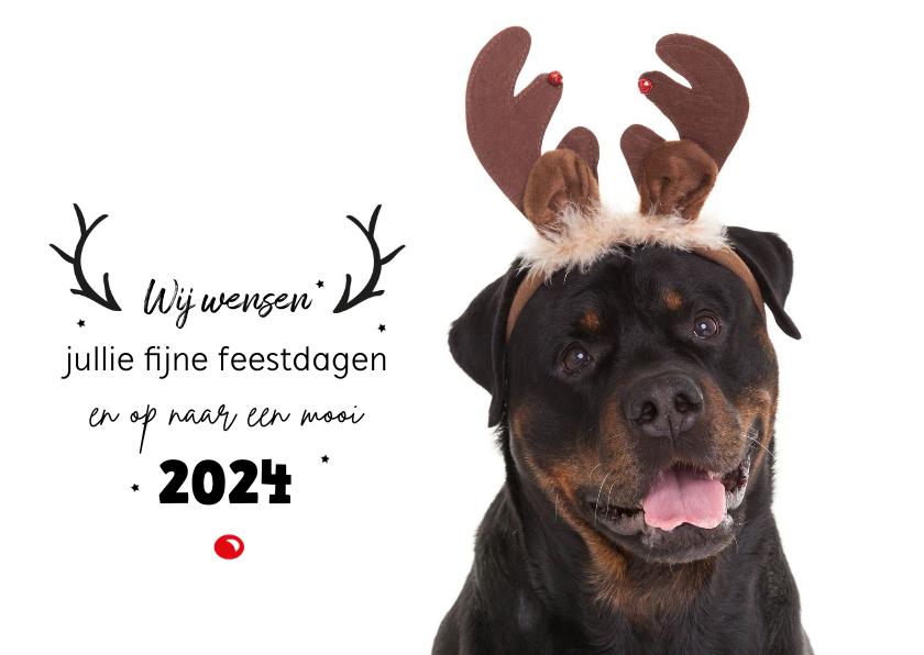 Kerstkaarten - Dieren Kerstkaart - Rottweiler rendier