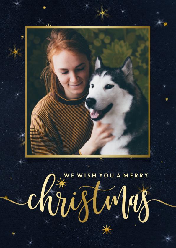 Kerstkaarten - Donkere kerstkaart sterren en foto in gouden kader